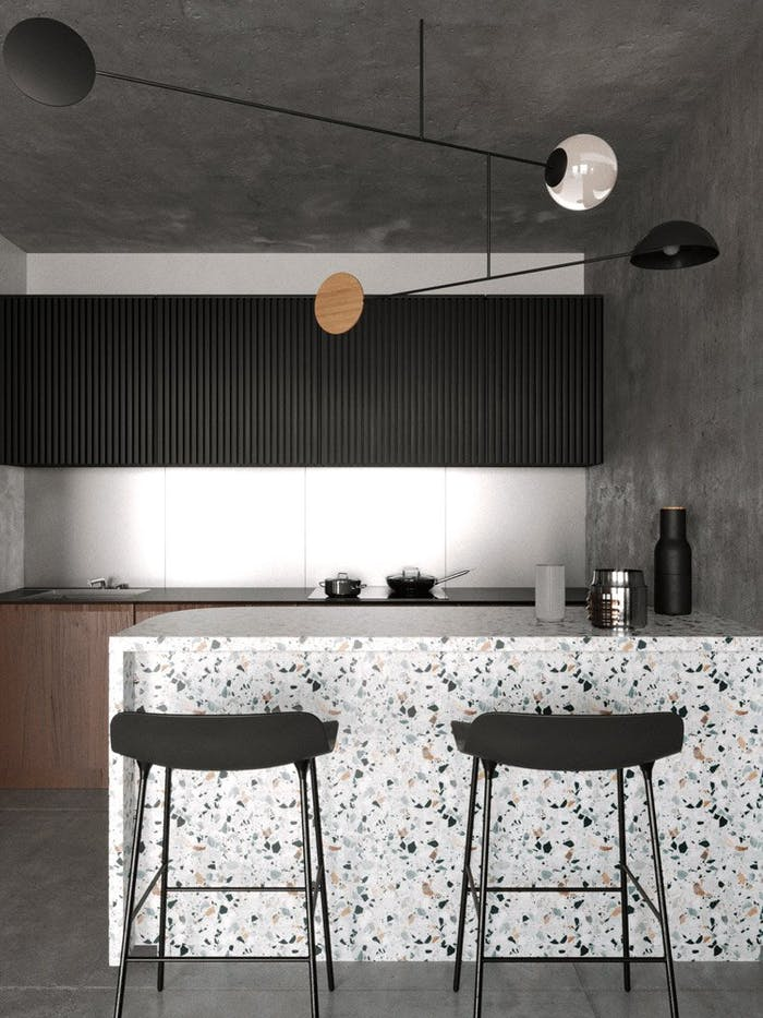 """Terrazzo minimal kitchen.<span class=""""sr-only""""> (opened in a new window/tab)</span>"""