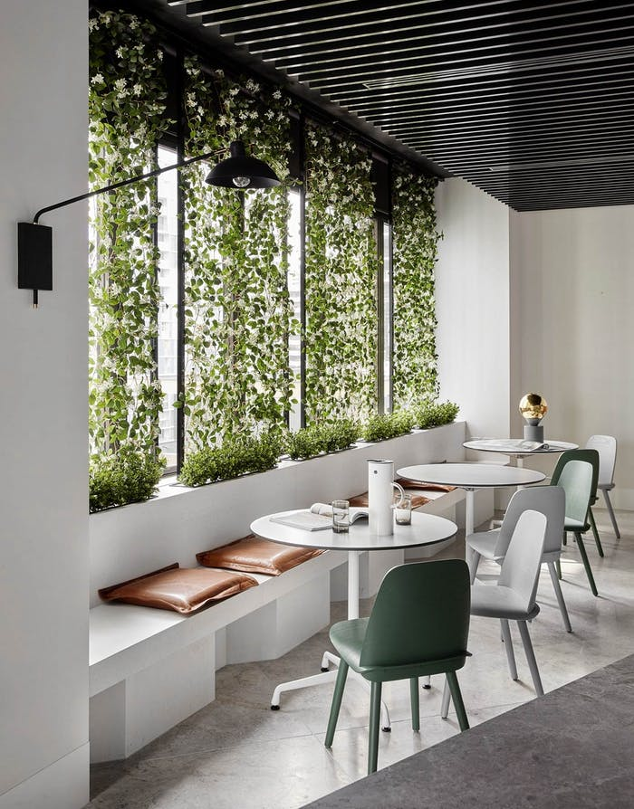 "Garden wall design feature in a minimalist dining area, great example of biophilic design.<span class=""sr-only""> (opened in a new window/tab)</span>"