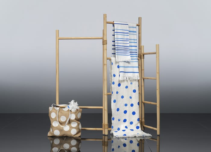 "A room divider and textiles from TÄNKVÄRD collection, all made out of sustainable materials.<span class=""sr-only""> (opened in a new window/tab)</span>"