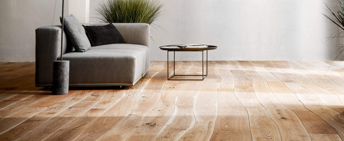 """Curved wood floor that minimises production scraps.<span class=""""sr-only""""> (opened in a new window/tab)</span>"""