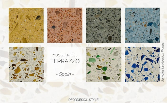 """Recycled glass terrazzo samples.<span class=""""sr-only""""> (opened in a new window/tab)</span>"""