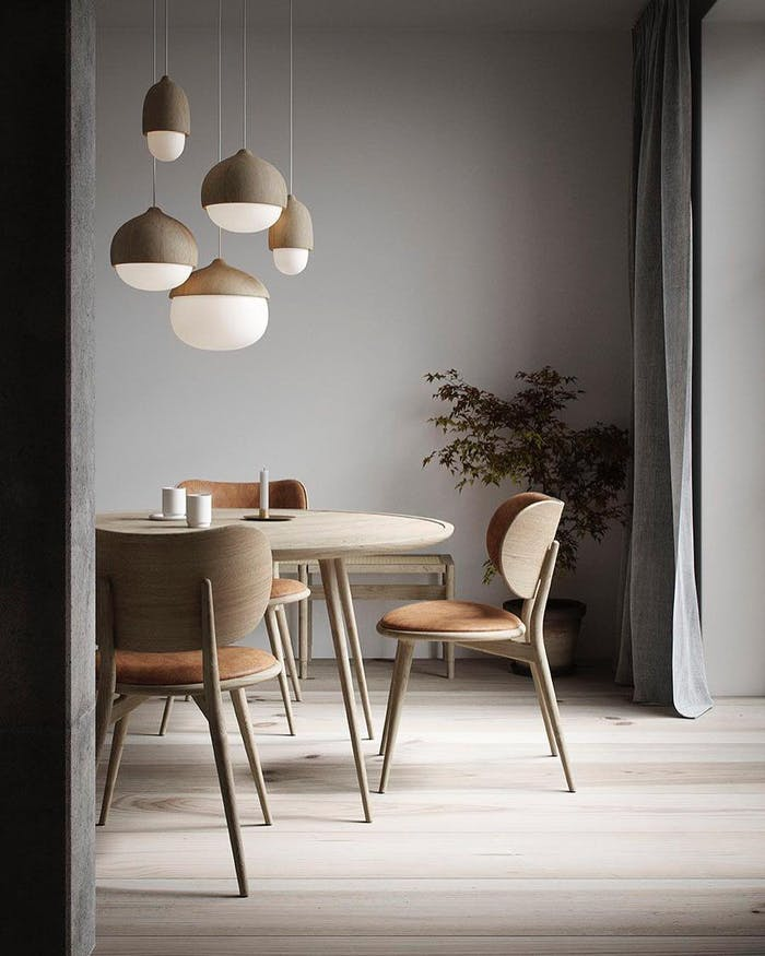 """Modern dining area merging Brave Ground accents with grey walls.<span class=""""sr-only""""> (opened in a new window/tab)</span>"""