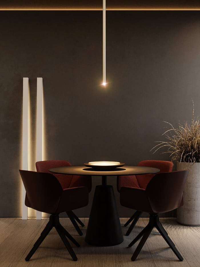 """Biophilic dining area lit with low lighting, creating an intimate atmosphere.<span class=""""sr-only""""> (opened in a new window/tab)</span>"""