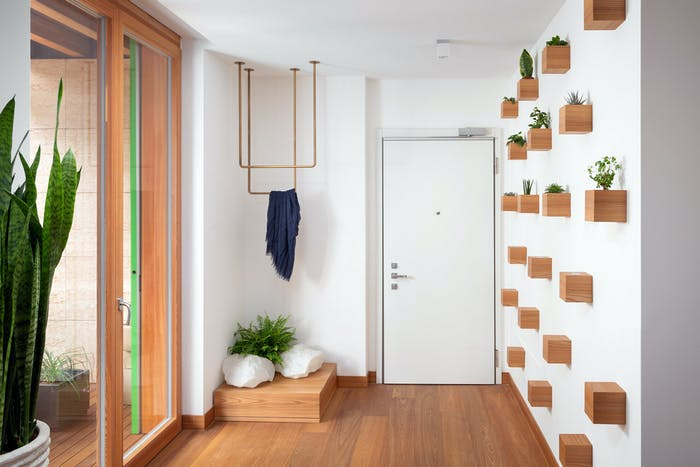 """Contemporary entryway with small plants creating a pattern on the wall.<span class=""""sr-only""""> (opened in a new window/tab)</span>"""