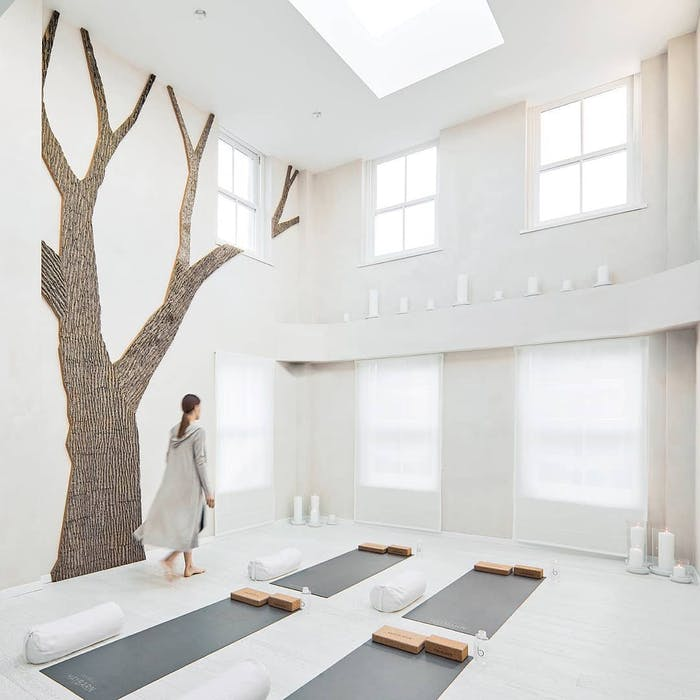 """Total white meditation room with a tree-shaped portion of the wall covered with real bark.<span class=""""sr-only""""> (opened in a new window/tab)</span>"""