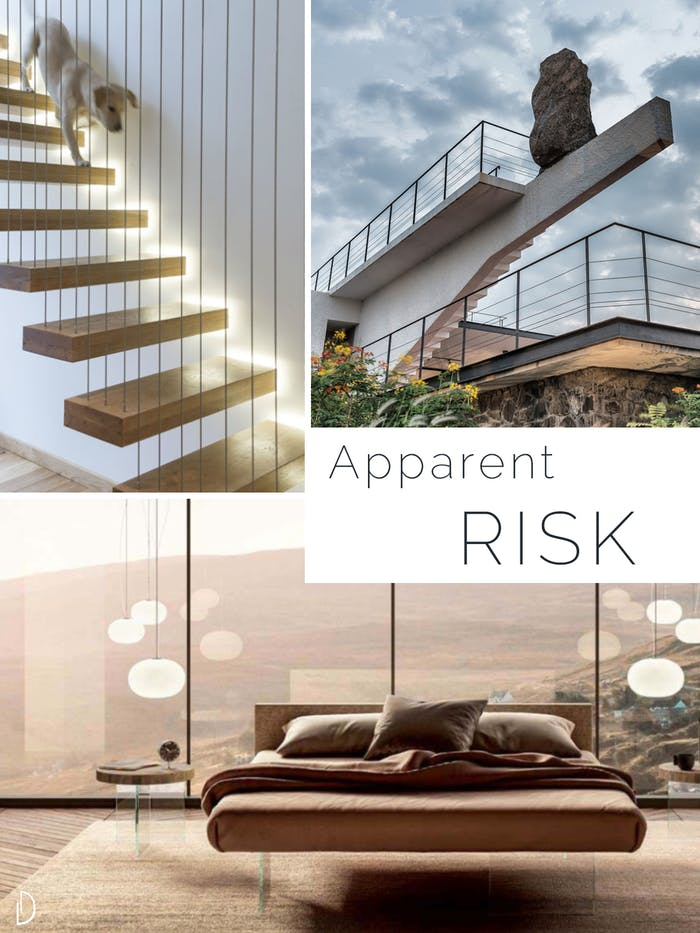 "Moodboard showing the concept of risk in biophilic design. 1 A floating staircase 2 A seemingly unstable stone on top of a cantilevered pillar 3 A bed with glass legs.<span class=""sr-only""> (opened in a new window/tab)</span>"