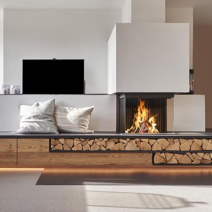 """Contemporary fireplace in a living room.<span class=""""sr-only""""> (opened in a new window/tab)</span>"""