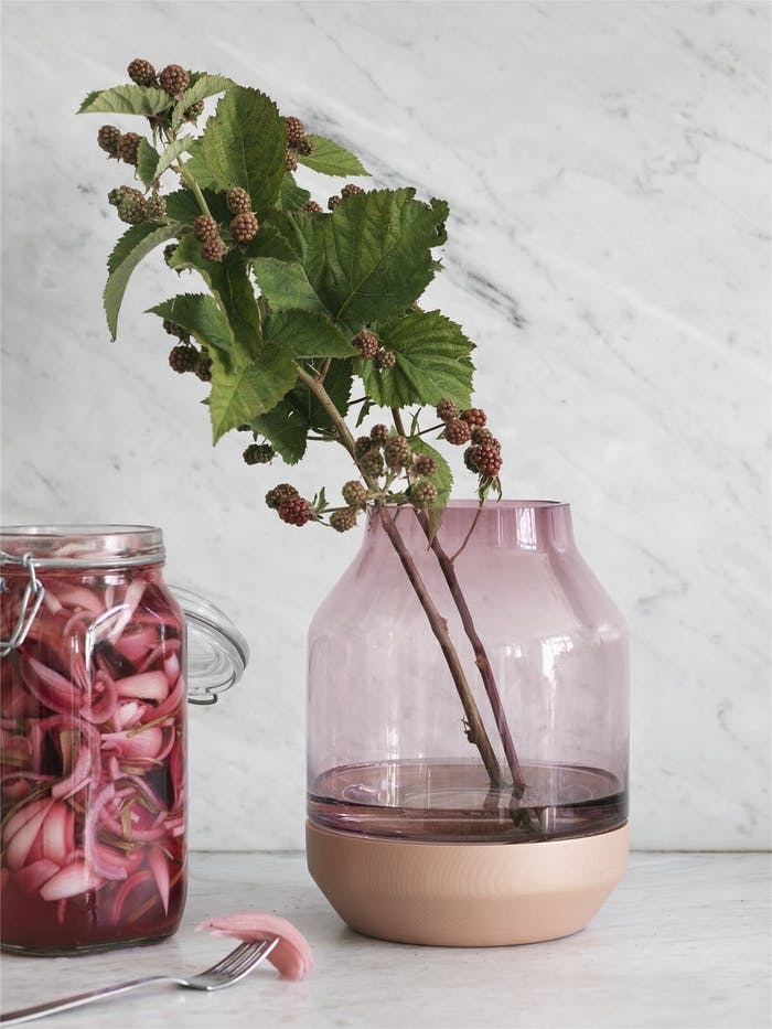 """A modern glass vase with wooden bottom.<span class=""""sr-only""""> (opened in a new window/tab)</span>"""