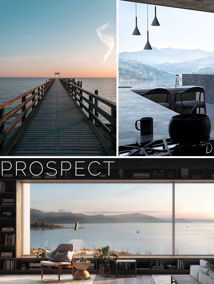 "Moodboard showing three examples of prospect: a bridge over the ocean, an open space with huge window and an interior with a big window looking into an expanse of water.<span class=""sr-only""> (opened in a new window/tab)</span>"