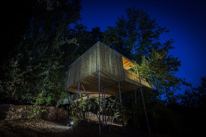 """Treehouse at night.<span class=""""sr-only""""> (opened in a new window/tab)</span>"""