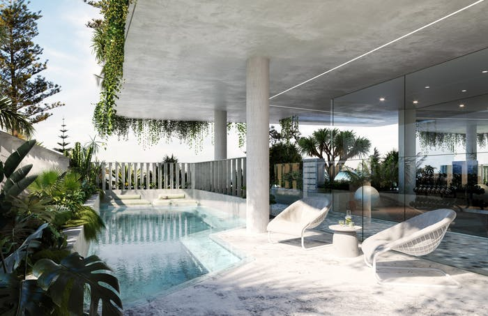 """View of the terrace, with plants and a blue pool.<span class=""""sr-only""""> (opened in a new window/tab)</span>"""