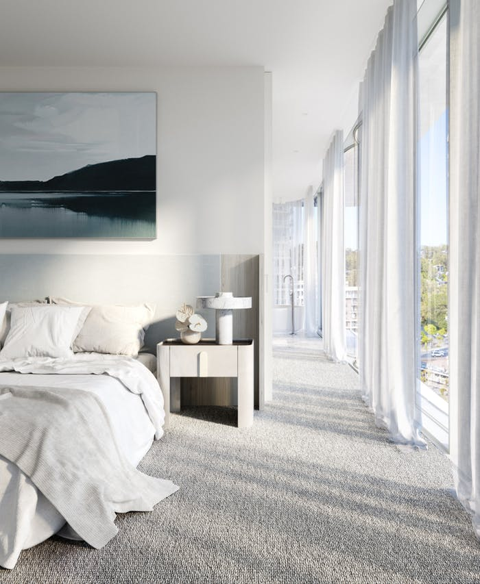 """Bedroom with glazed wall closed with white curtains.<span class=""""sr-only""""> (opened in a new window/tab)</span>"""