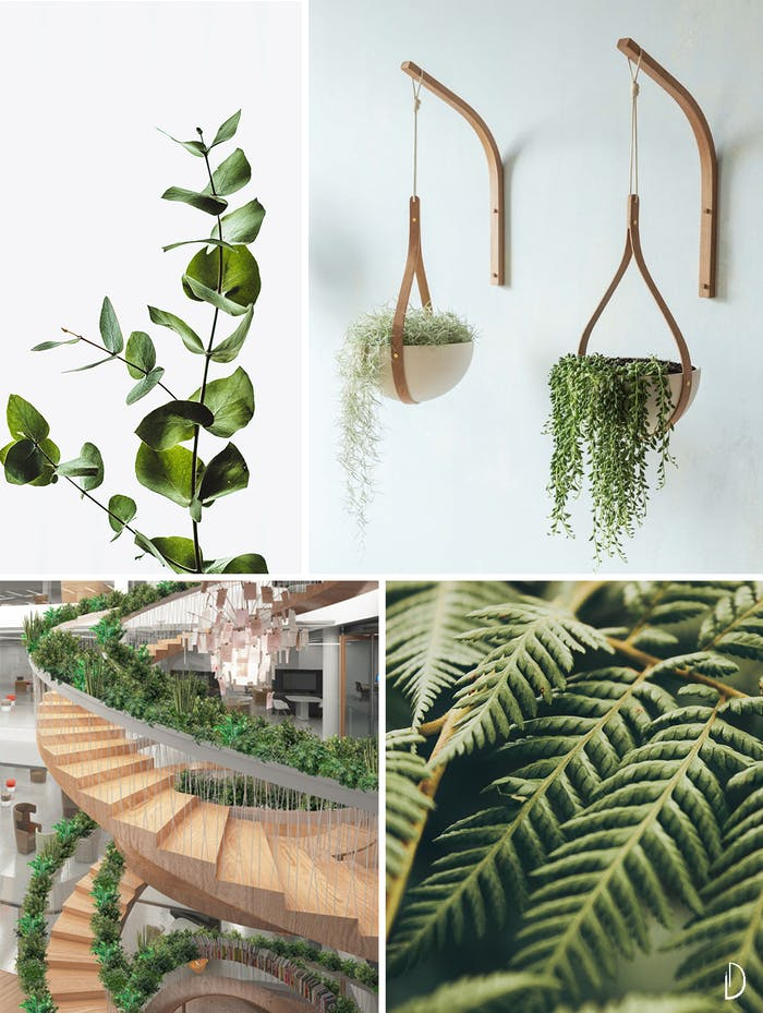 "Moodboard depicting the concept of greenery in biophilic design. Wood hanging planters, a circular staircase with plants all along the handrail and two close up views of branches and leaves.<span class=""sr-only""> (opened in a new window/tab)</span>"