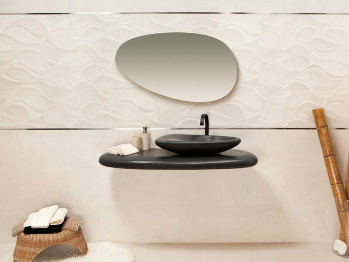 """Bathroom with all organic rounded shapes, from the vanity to the sink to the mirror.<span class=""""sr-only""""> (opened in a new window/tab)</span>"""