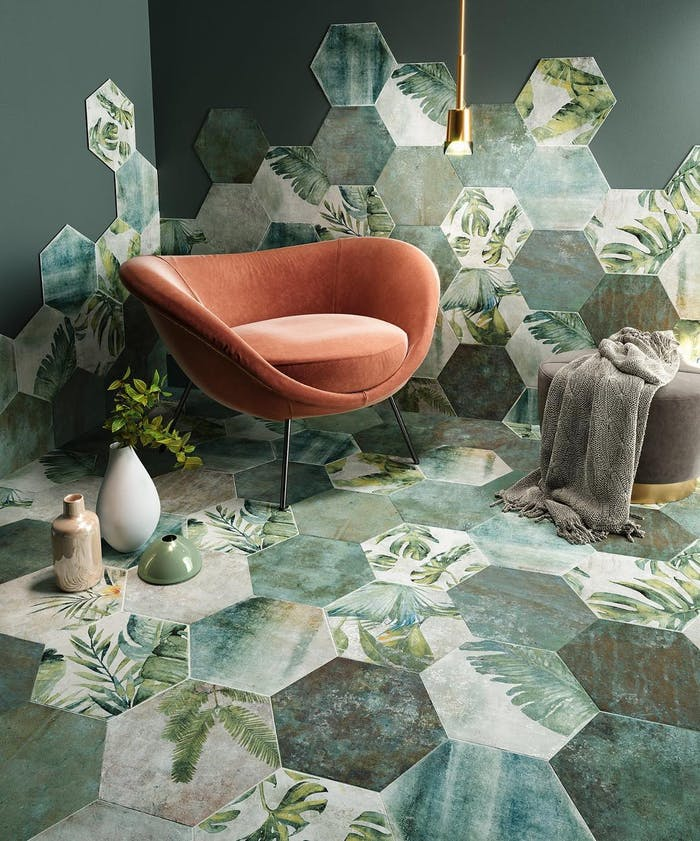 "Relax corner with biophilic hexagonal tiles with a leaf pattern.<span class=""sr-only""> (opened in a new window/tab)</span>"