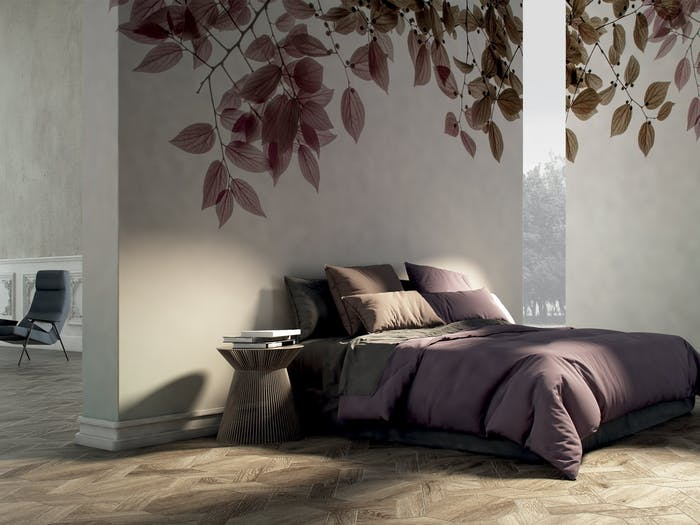 "Bedroom with a wallpaper reproducing the natural fractal of branches with leaves, that drape from the top.<span class=""sr-only""> (opened in a new window/tab)</span>"