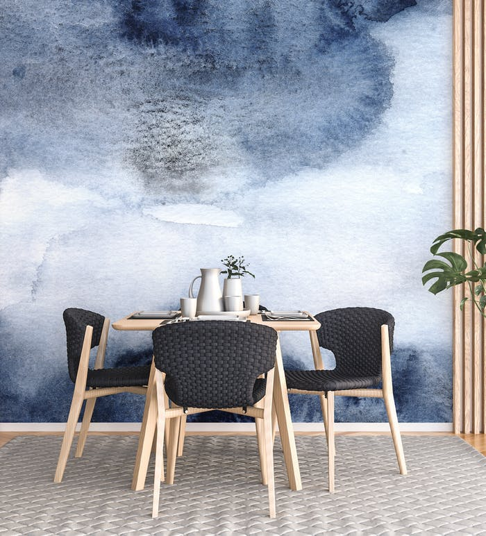 """Dining table with watercolour water wall mural.<span class=""""sr-only""""> (opened in a new window/tab)</span>"""