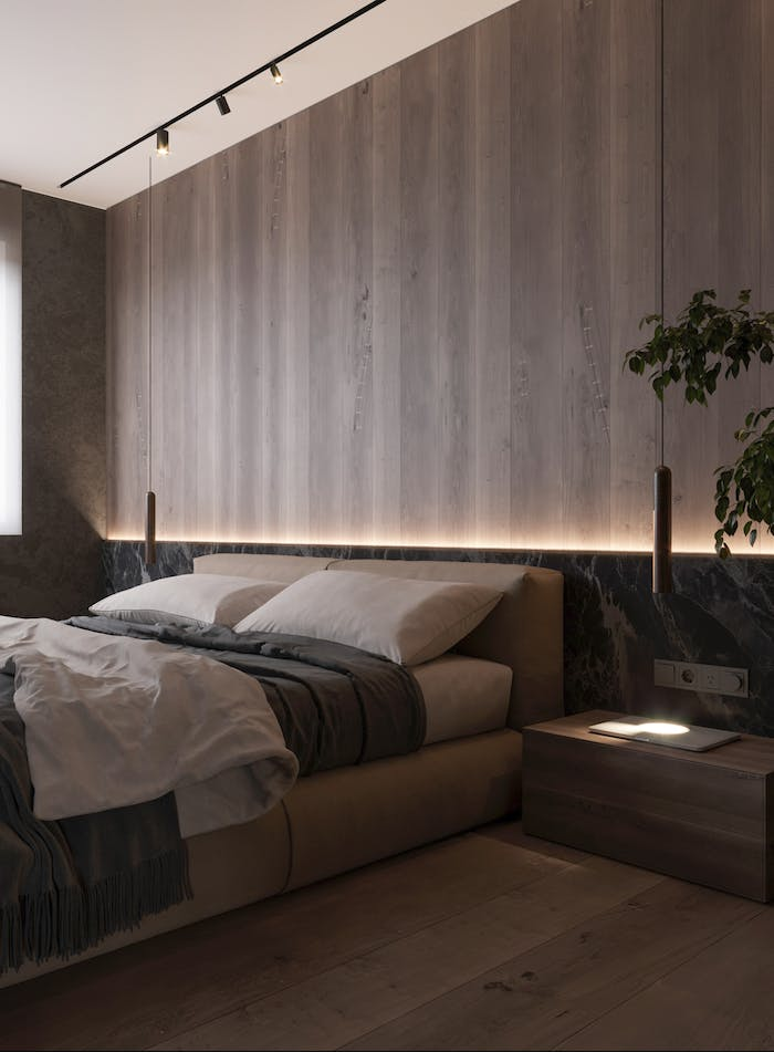 """Bedroom with dimmable strip-light hidden in the wood panel behind the bed.<span class=""""sr-only""""> (opened in a new window/tab)</span>"""