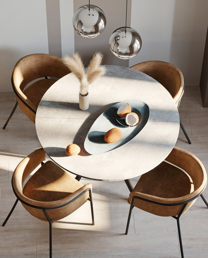 "A dining table with coconuts used as décor.<span class=""sr-only""> (opened in a new window/tab)</span>"
