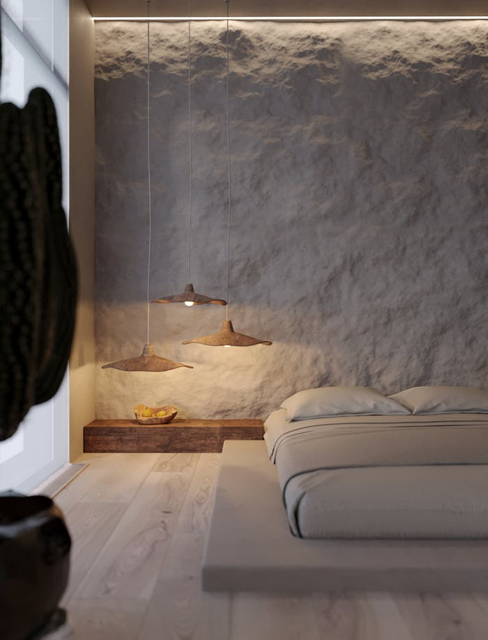 "Bedroom with stone textured back wall.<span class=""sr-only""> (opened in a new window/tab)</span>"