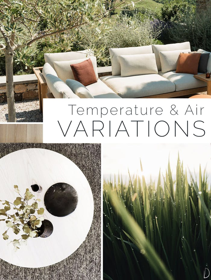 """Biophilic design moodboard showing thermal & airflow variability. 1: outdoor seating area under the shadow of a tree. 2: a soft rug on a wooden flooring. 3: grass moving in the wind.<span class=""""sr-only""""> (opened in a new window/tab)</span>"""
