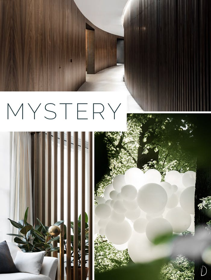 "Moodboard showing 3 examples of mystery in biophilic design. 1: A curved wall corridor. 2: A partially see-through wooden wall partition. 3: Plants hiding a pendant decoration outdoors.<span class=""sr-only""> (opened in a new window/tab)</span>"