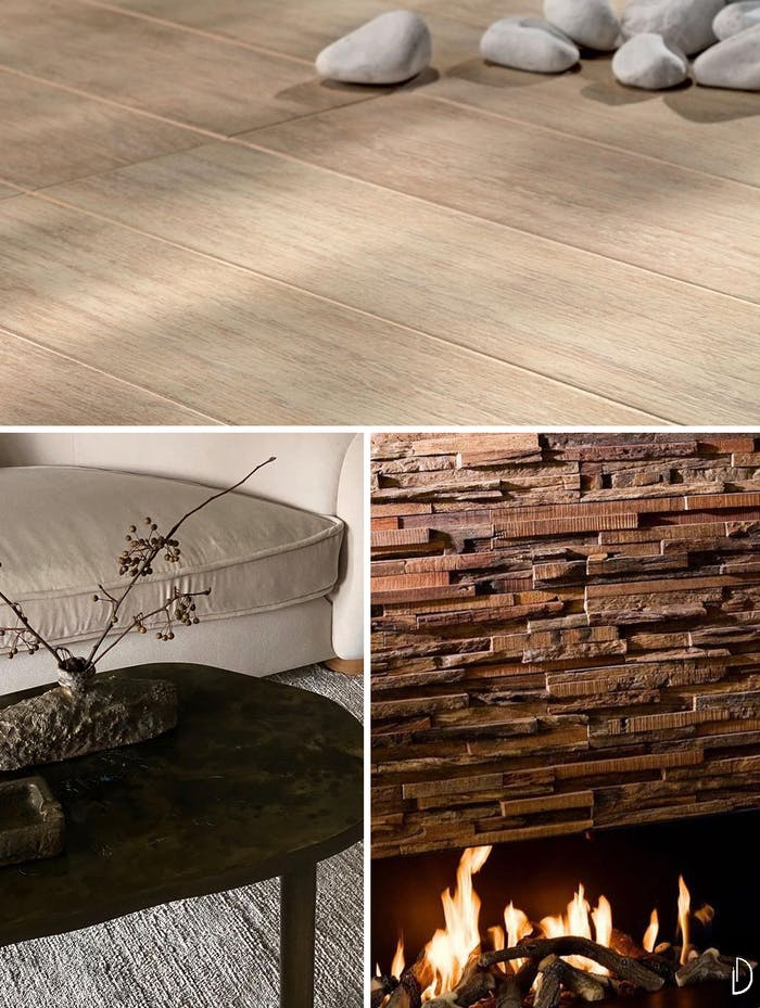 """Biophilic design moodboard depicting natural textures in interiors: a wood flooring, a wood coffee table with textured accessories and the detail of a wooden fireplace wall.<span class=""""sr-only""""> (opened in a new window/tab)</span>"""