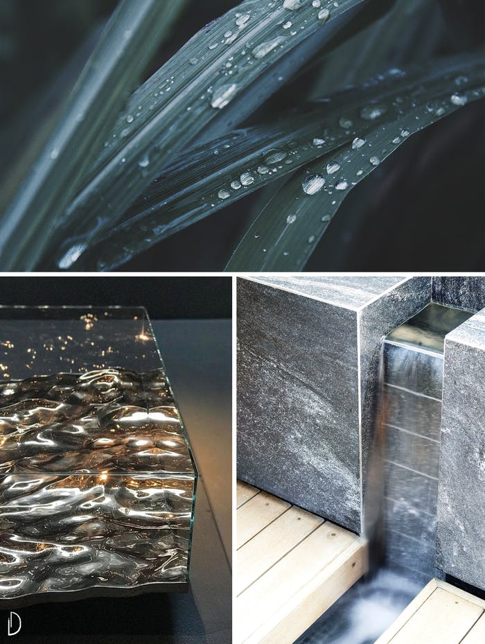 "Biophilic design moodboard showing the power of water in a biophilic design: drops falling from a leaf, a table with a water-like texture and a water fountain.<span class=""sr-only""> (opened in a new window/tab)</span>"