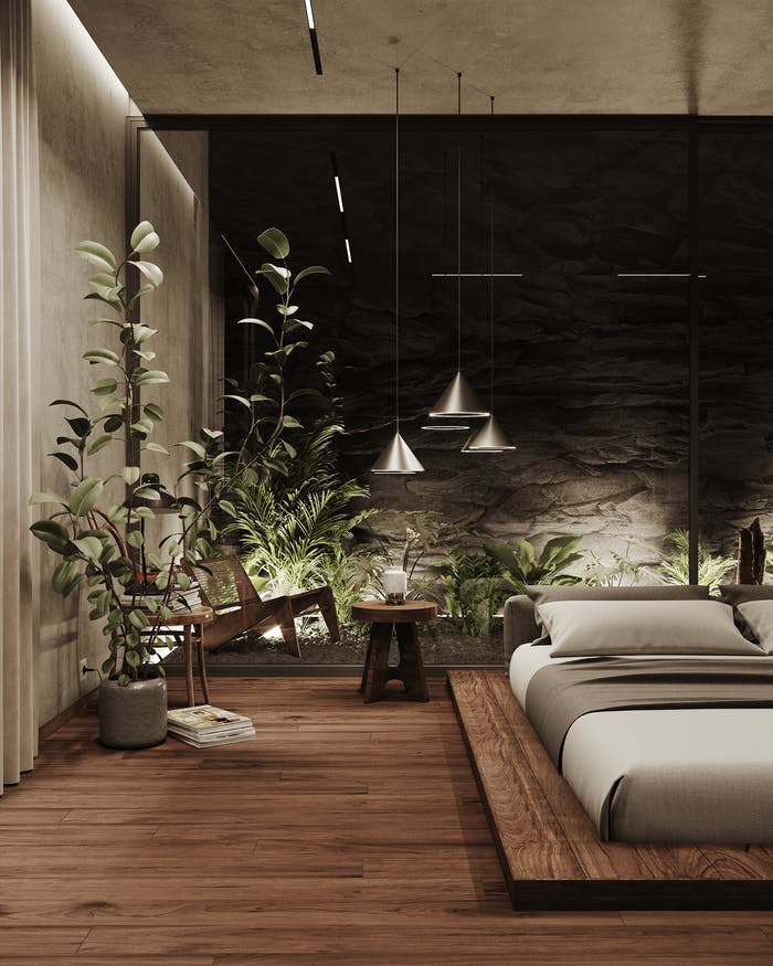 """Bedroom with lots of wood and a greenery indoor garden as headboard.<span class=""""sr-only""""> (opened in a new window/tab)</span>"""