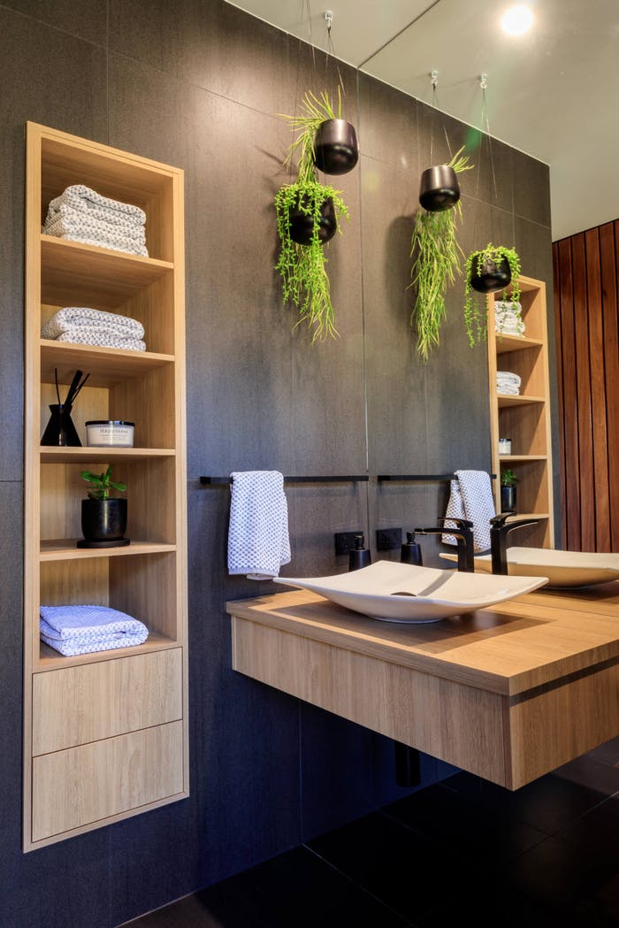 """Plants hanging from the ceiling in a small bathroom.<span class=""""sr-only""""> (opened in a new window/tab)</span>"""