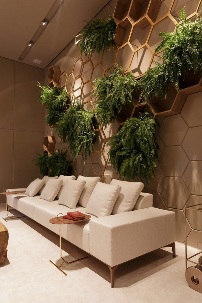 """Draping plants into hexagonal frames behind a sofa.<span class=""""sr-only""""> (opened in a new window/tab)</span>"""