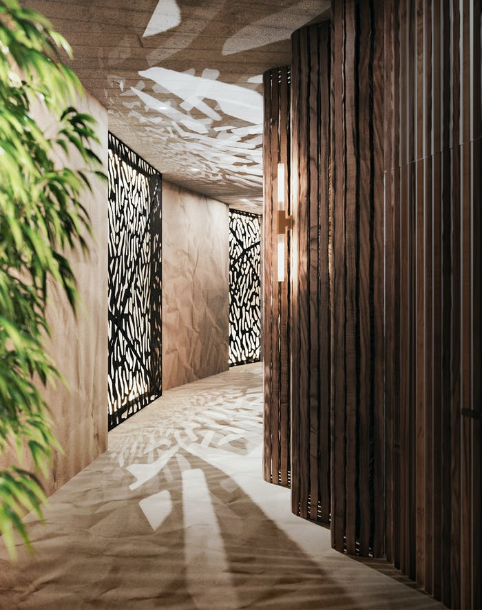 """Curved corrieor with light reflections drawing shapes on floor and ceiling.<span class=""""sr-only""""> (opened in a new window/tab)</span>"""