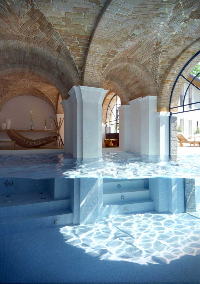 """Deep pool enclosed in a glazed facade.<span class=""""sr-only""""> (opened in a new window/tab)</span>"""
