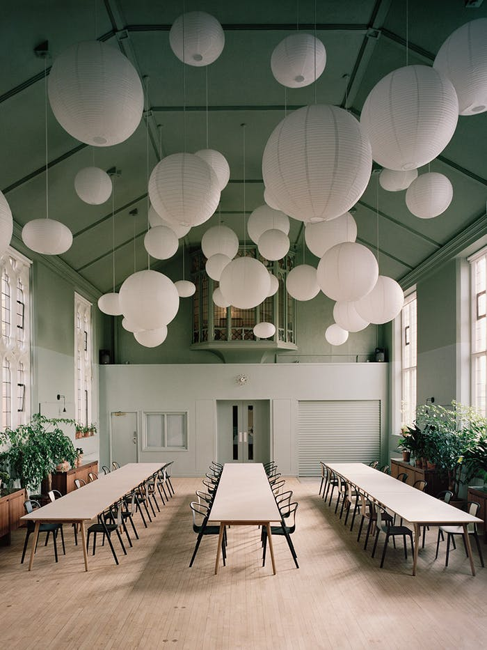 "Biophilic dining room with Tranquil Dawn ceiling.<span class=""sr-only""> (opened in a new window/tab)</span>"
