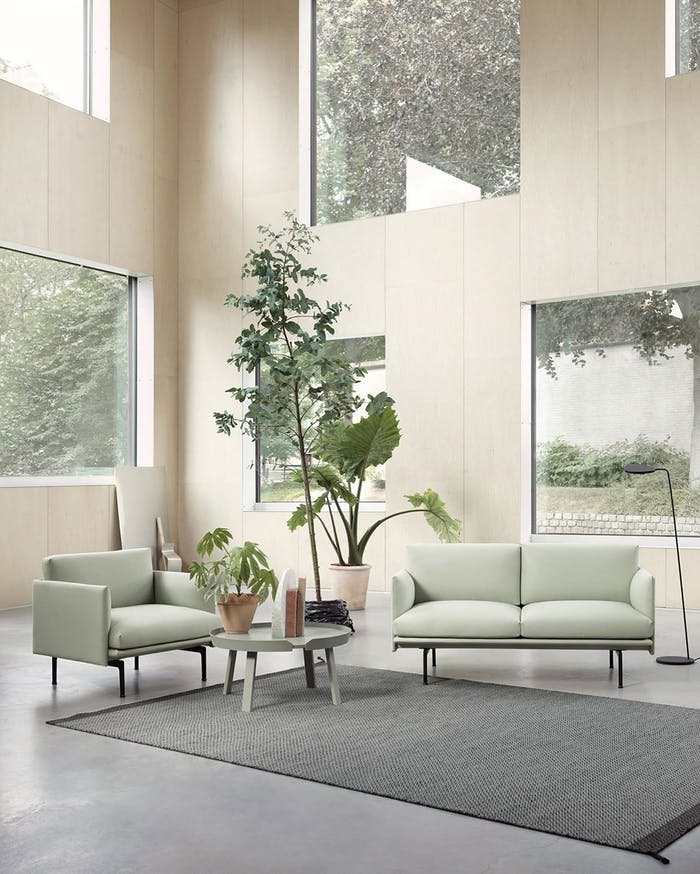 "Biophilic sitting area in a room with very high ceilings and Tranquil Dawn furniture.<span class=""sr-only""> (opened in a new window/tab)</span>"