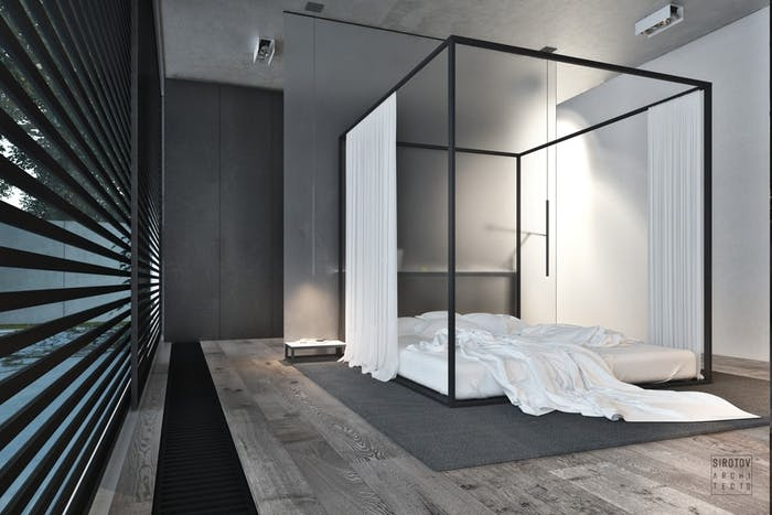 "Contemporary canopy bed.<span class=""sr-only""> (opened in a new window/tab)</span>"
