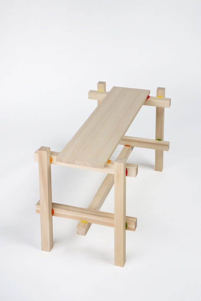 """Wooden bench kept together with a candy-based glue.<span class=""""sr-only""""> (opened in a new window/tab)</span>"""