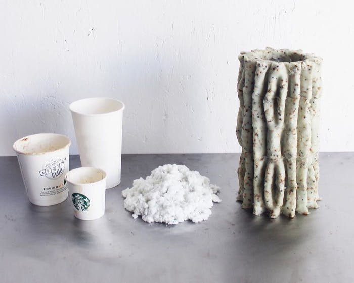 "Trashed coffee cups next to a mycelium based vase.<span class=""sr-only""> (opened in a new window/tab)</span>"