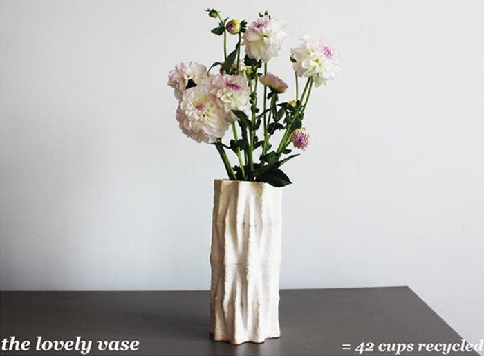 "The Lovely vase, made upcycling 42 coffee cups.<span class=""sr-only""> (opened in a new window/tab)</span>"