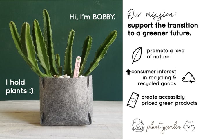 "Shot of Bobby felt planter with a plant inside.<span class=""sr-only""> (opened in a new window/tab)</span>"