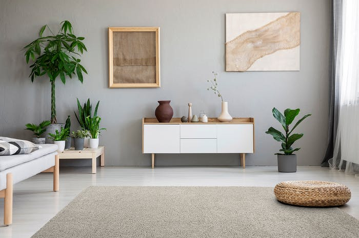 "Living room decorated with earthy tones, plenty of plants and a beige modular rug on the floor.<span class=""sr-only""> (opened in a new window/tab)</span>"