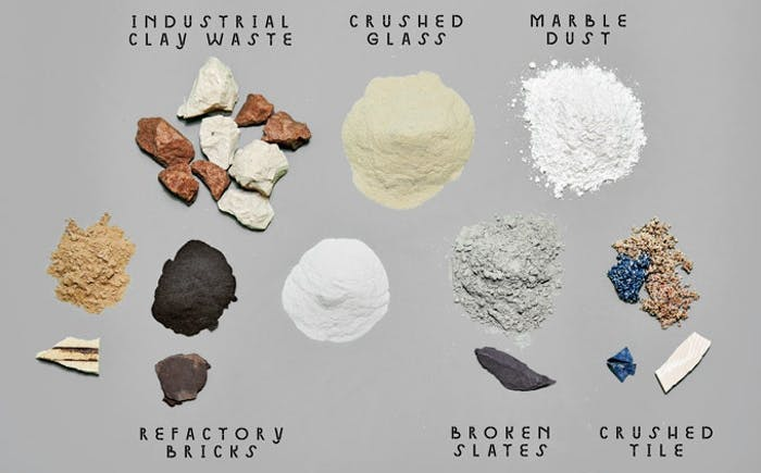 "View of all the materials that make Granbyware: industrial clay waste, crushed glass, marble dust, refectory bricks, broken slates, crushed tile.<span class=""sr-only""> (opened in a new window/tab)</span>"
