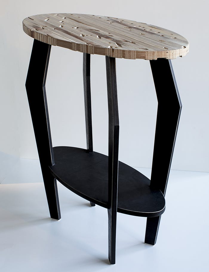"Side table made of recycled plywood.<span class=""sr-only""> (opened in a new window/tab)</span>"
