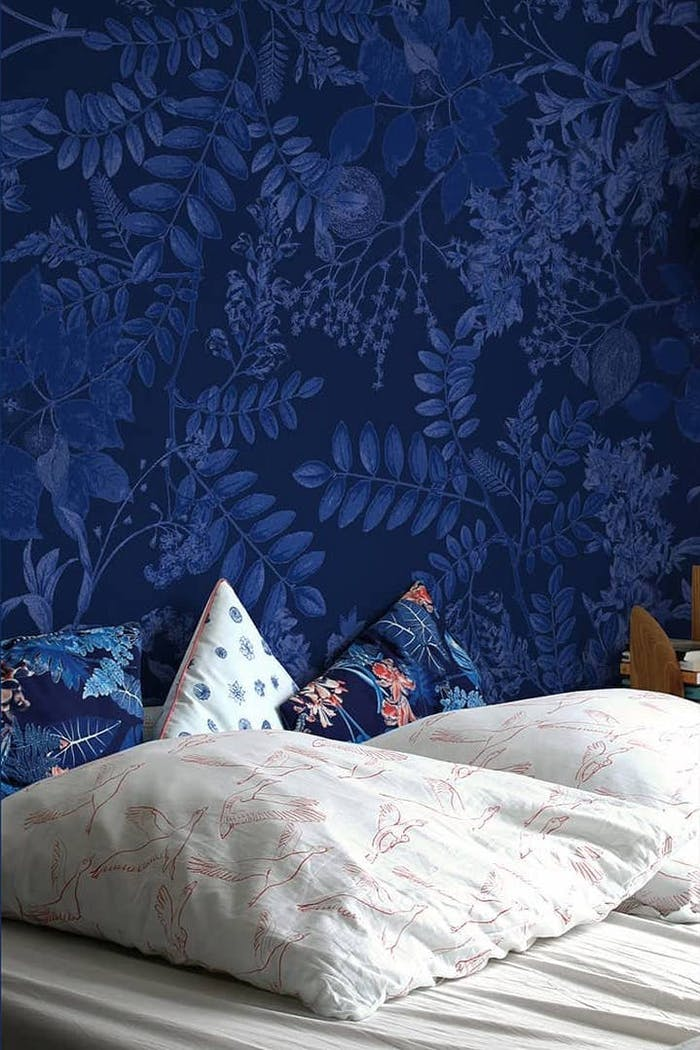 """Blue wallpaper representing different types of leaves.<span class=""""sr-only""""> (opened in a new window/tab)</span>"""