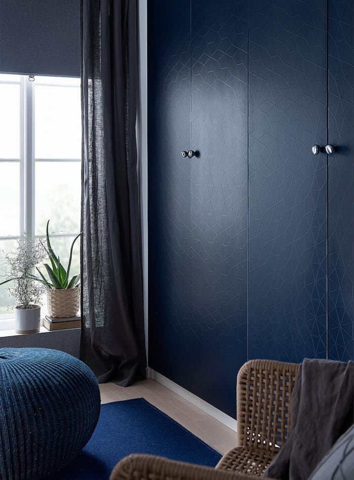 """Blue wardrobe doors with fractal texture.<span class=""""sr-only""""> (opened in a new window/tab)</span>"""