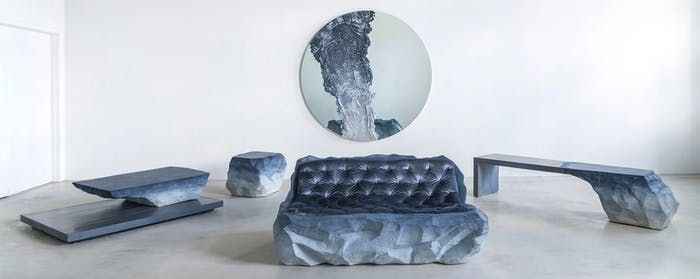 "Drift collection including a mirror, a sofa, a bench, an ottoman and a console table inspired by the issue of melting glaciers.<span class=""sr-only""> (opened in a new window/tab)</span>"