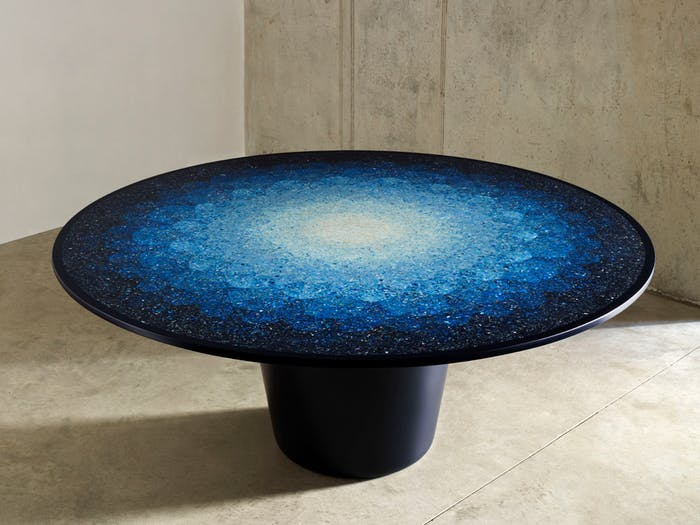 "Mosaic effect table made using ocean plastic fragments.<span class=""sr-only""> (opened in a new window/tab)</span>"