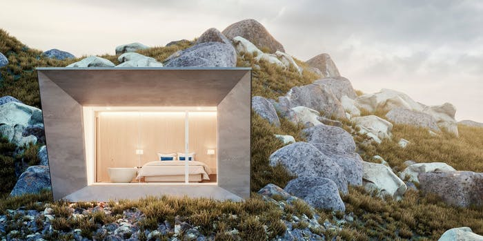 """EDEN luxury portable suite installed in a remote mountain location. An example of sustainable living and energy efficiency.<span class=""""sr-only""""> (opened in a new window/tab)</span>"""