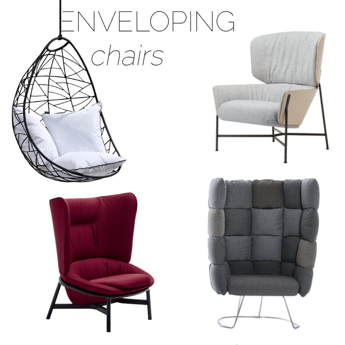 """Selection of enveloping armchairs, great option to create a refuge area in a biophilic design.<span class=""""sr-only""""> (opened in a new window/tab)</span>"""