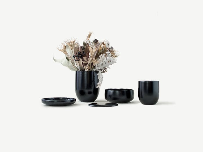 "Black tableware made of food waste.<span class=""sr-only""> (opened in a new window/tab)</span>"
